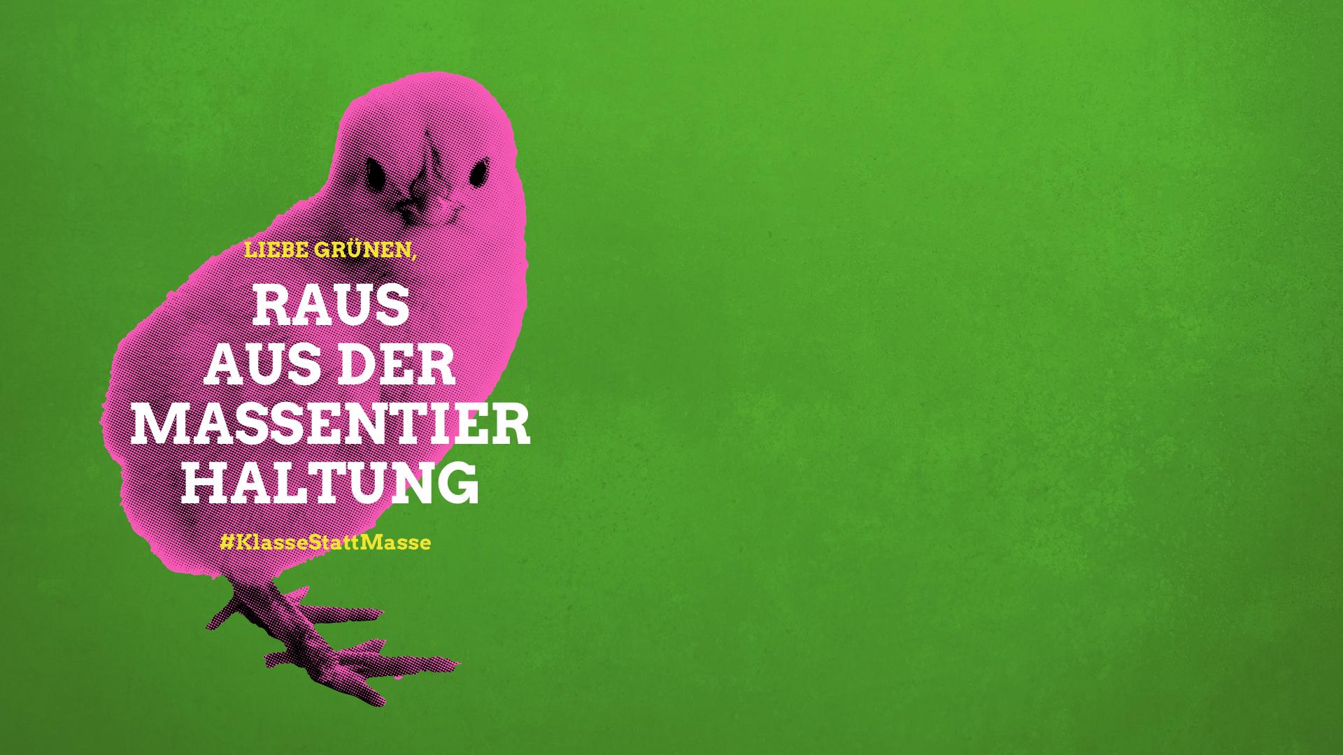 """Küken und Slogan """"Raus aus der Massentierhaltung"""""""