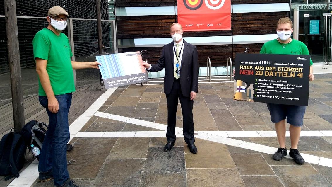 Datteln 4 Petitionsübergabe, finnische Botschaft, 14.8.2020