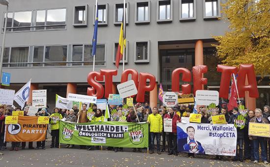 Anti-CETA-Kundgebung vor der belgischen Botschaft in Berlin
