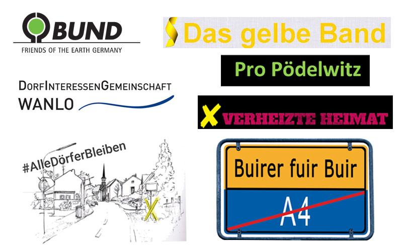 Ran ans Werk: Raus aus der Kohle ist eine gemeinsame Aktion von BUND, Buirer für Buir, #AlleDörferBleiben, Pro Pödelwitz, Verheizte Heimat, Das Gelbe Band und Dorfinteressengemeinschaft Wanlo