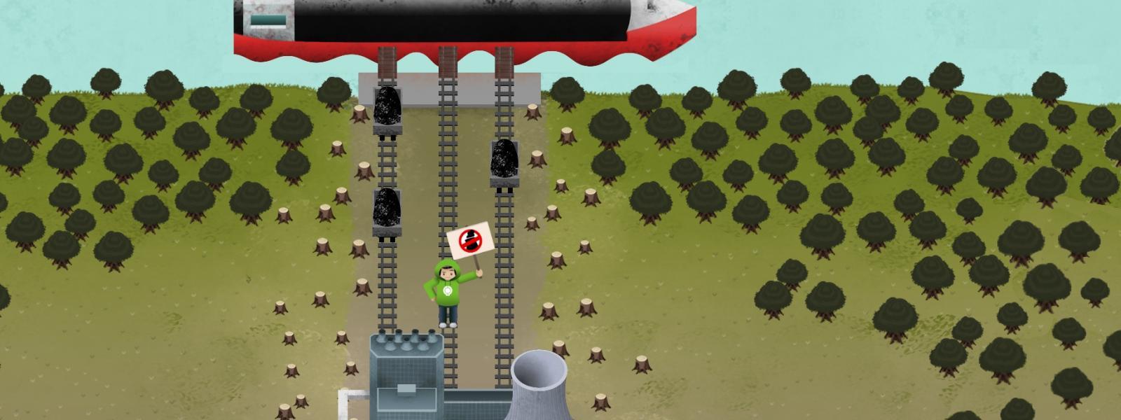 Grafik des Spiels mit Kohle-Schüttlader, Kraftwerk und BUND-Aktivist*in