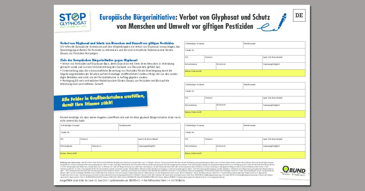 Unterschriftenliste für die EBI gegen Glyphosat